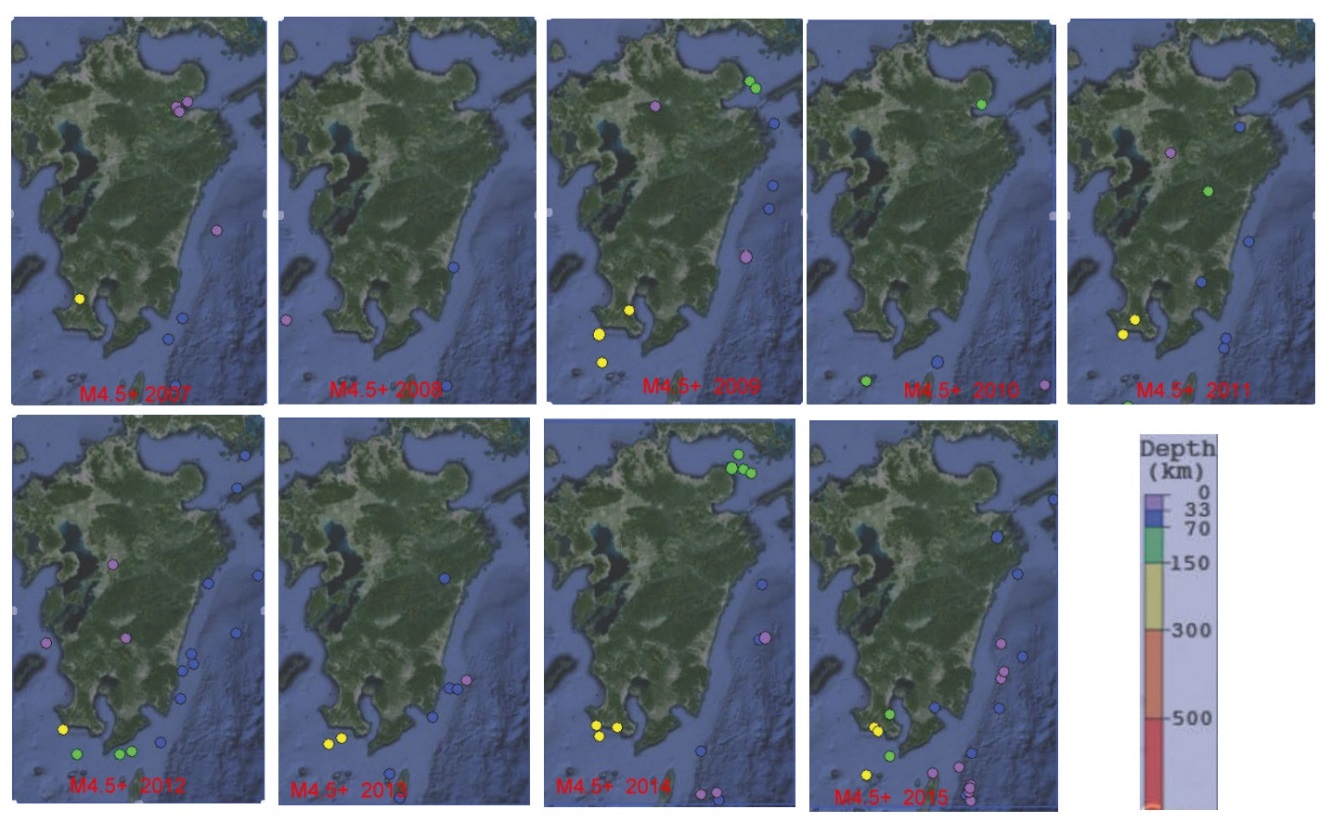 The M4.5+ earthquakes from 2007 to 2015. Note almost total lack in quakes  in the Beppu-Shimabara Graben before the Kumamoto Earthquake in 2016  (compare with ...